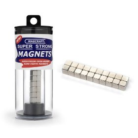 Magcraft nsn0606 1/4-inch rare earth cube magnets, 20-count