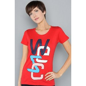 Wesc the overlay no. 2 tee in lingonberry,t-shirts for women