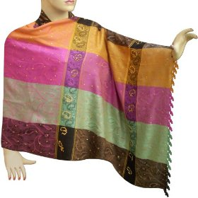 Self printed colorful stole in viscose cotton fabric with sequin work stle0029r