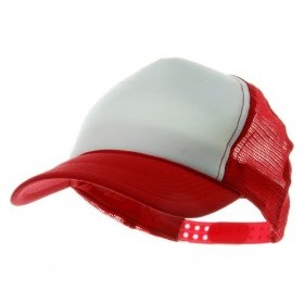 Youth polymesh cap - white red w19s27b