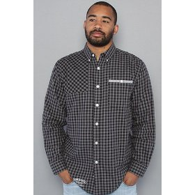 Crooks and castles the gingham flannel buttondown shirt in gravel,buttondown shirts for men