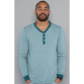 Lrg the deep pockets v-neck henley in dark teal,tops for men