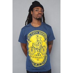 Obey the fix your gears tee in blue,t-shirts for men