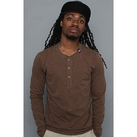 Lrg core collection the cc long sleeve henley tee in brown heather,tops for men