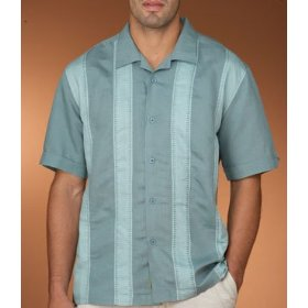 Cubavera linen color block shirt