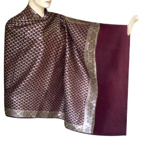 Indian traditional handmade bride cotton shawl with leaf work for her marriage gift shwl0078r