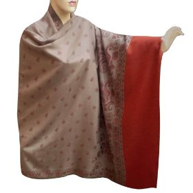Special gift handmade wool shawl with leaf work & two side design shw0107r
