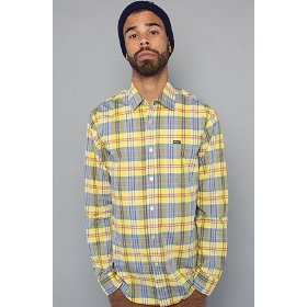 Rvca the poison plaid buttondown shirt in tang yellow,buttondown shirts for men