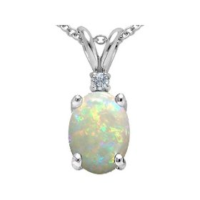 1.02 cttw 14k white gold genuine aaa 8x6 australian opal and diamond pendant in 14k white gold