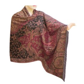 Bridal designer wedding self design handmade wool shawl from kashmir, gift for wife shwl0126r