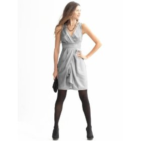 Banana republic petite silk v-neck drape dress