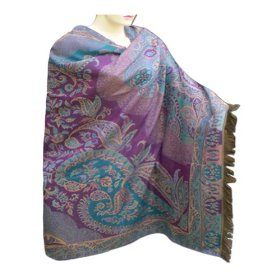 Handmade cotton shawl in paisley design with leaf work & two sided design shw0068r