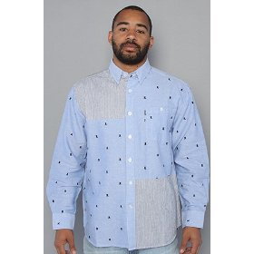 Crooks and castles the coca & cav buttondown shirt in blue,buttondown shirts for men
