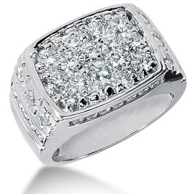 Round brilliant diamond mens ring in platinum