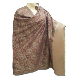 Handmade jamawar wool shawl with leaf work & plain border christmas gift shwl0063r
