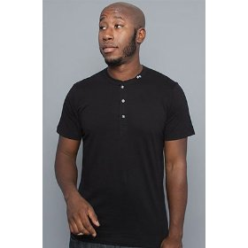 Lrg core collection the cc henley in black,tops for men