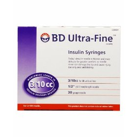 Bd ultra-fine insulin syringe, 30 gauge 3/10cc 1/2 inch needle, for use with u-1