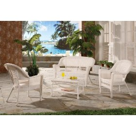 4pc off white resin wicker outdoor patio furniture set