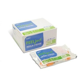 Feelject insulin syringe 30g, 1cc, 1/2