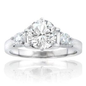 1.45 ct. tw round diamond engagement ring in 14 kt. accented mounting size 3.5