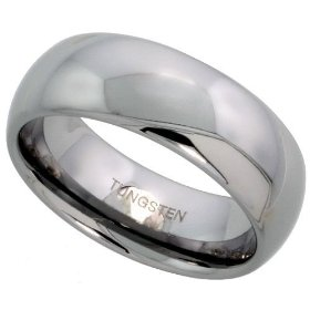 Tungsten carbide 8 mm (5/16 in.) high polished comfort fit domed wedding band ring size 5