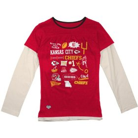 Reebok kansas city chiefs girls (7-16) long sleeve faux layer t-shirt