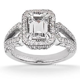 14k white gold engagement ring - 1.45ct emerald cut diamond ring(h-i color, i1 clarity), all sizes a