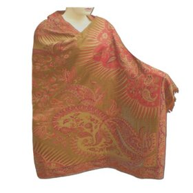 Handmade cotton shawl in paisley design with leaf work & two sided design shw0066r