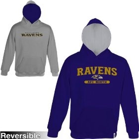 Reebok baltimore ravens boys (4-7) home & away reversible hooded sweatshirt