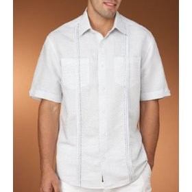 Cubavera two pocket linen shirt with pickstitch