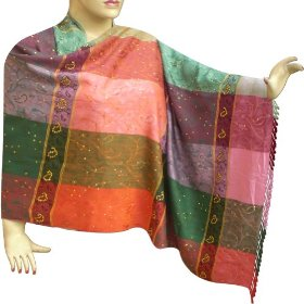 Self printed colorful stole in viscose cotton fabric with sequin work stle0028r