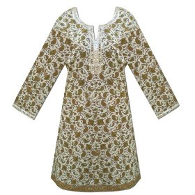 Handmade block printed ladies cotton top designer neck & cuff with sequins work  lltop0013r