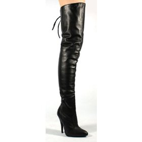 Thigh high black leather 5 inch heel boot - 7