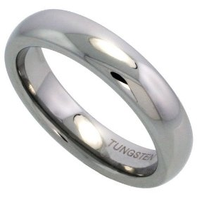 Tungsten carbide 5mm (3/16 in.) high polished comfort fit domed wedding band ring size 5