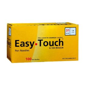 Easy touch pen needles, 31 gauge 1/4