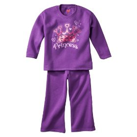 Infant toddler girls' hanes® violet moon 2 pc fleece set
