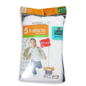 Hanes - toddler boys 5 pack crewneck t-shirts, white, t2145