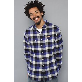 Crooks and castles the boxcheck flannel buttondown shirt in blue,buttondown shirts for men