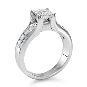 Certified, princess cut, solitaire diamond ring in 14k gold / white (1 1/2 ct, f color, si2 clarity)