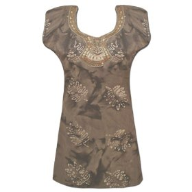 Handmade embroidered batik printed women cotton top sequins & beads work lltop0040r