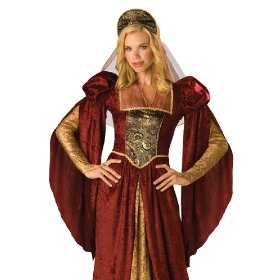 In character renaissance fair dress maid marian halloween costume
