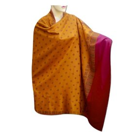 Special gift handmade wool shawl with leaf work & two side design  shw0073r