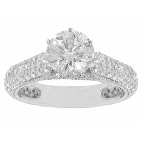 2.36 ct. tw round diamond engagement ring in 14 kt. pave accented mounting