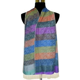 Handmade colorful base semi silk rectangular scarf women neck wrap scrf0015r