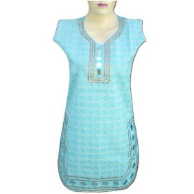 Handmade printed cotton top with paper miror, sequins and lace  lltop0142r
