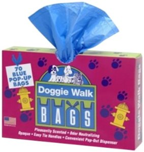 Doggie Walk Bags Classic Baby Powder Box Blue, 70 Pop-Out Bags