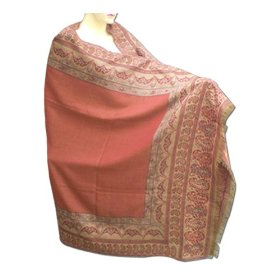 New arrival handmade jamawar look wool shawl with leaf design & sequins shwl0105r