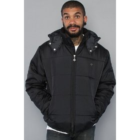Lrg core collection the grass roots puffy jacket in black,jackets for men
