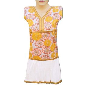 Colorful embroidery printed cotton top frok style with sequins lltop0070r