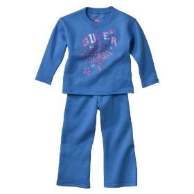 Infant toddler girls' hanes® hula blue 2 pc fleece set